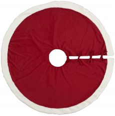 """HOME FOR THE HOLIDAY QY410 RED 48"""" x 48"""" ROUND TREE SKIRT"""